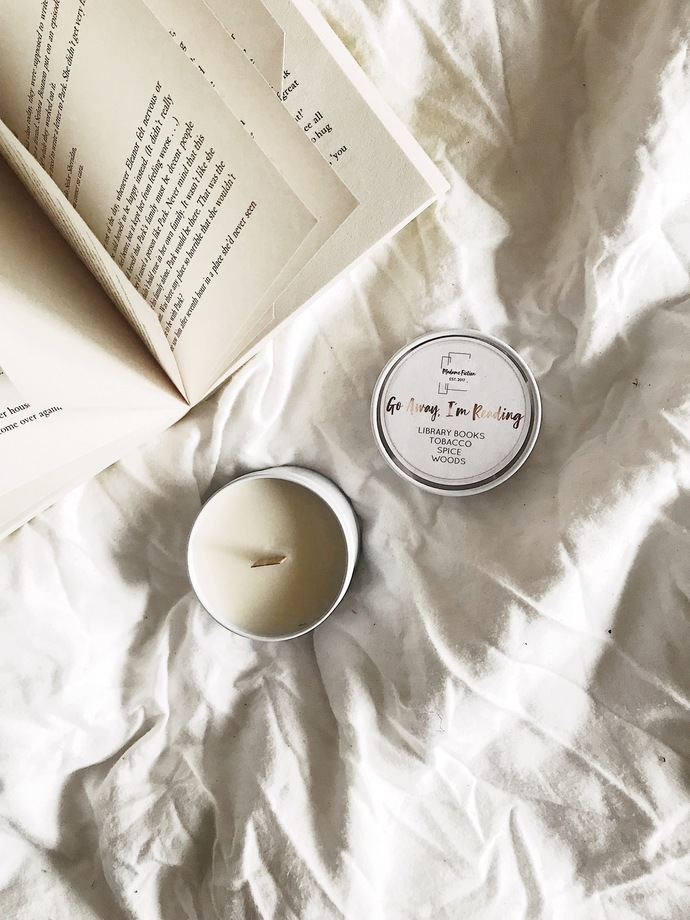 Go Away, I'm Reading - 4oz Candle - Bookish Candle - Scented Soy Candle - Book