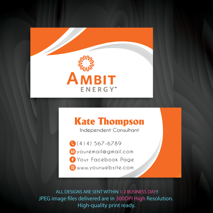 Ambit Business Cards, Ambit, Printable File, Personalized Ambit Business Cards,