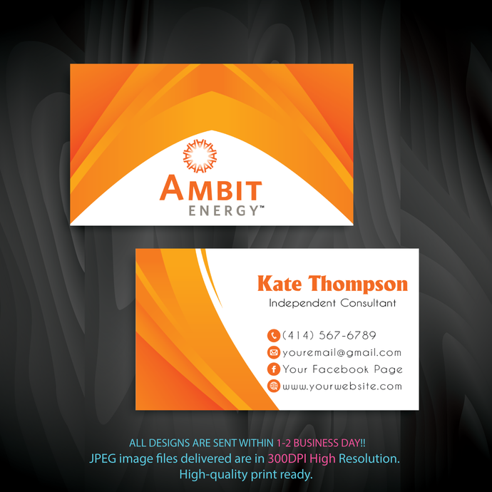 Ambit Business Cards, Personalized Ambit Business Cards, Ambit, Printable File,