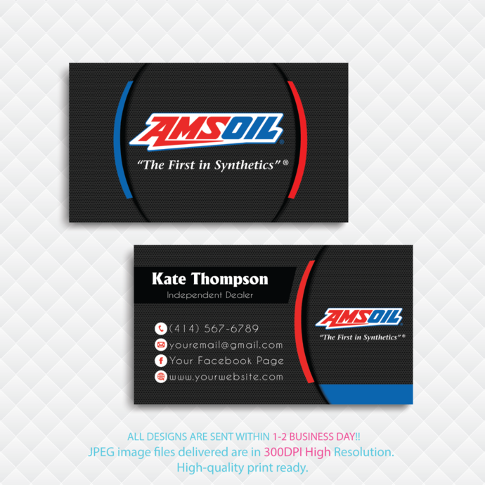 Amsoil  Business Cards, Personalized Amsoil Business Cards, Amsoil, Printable