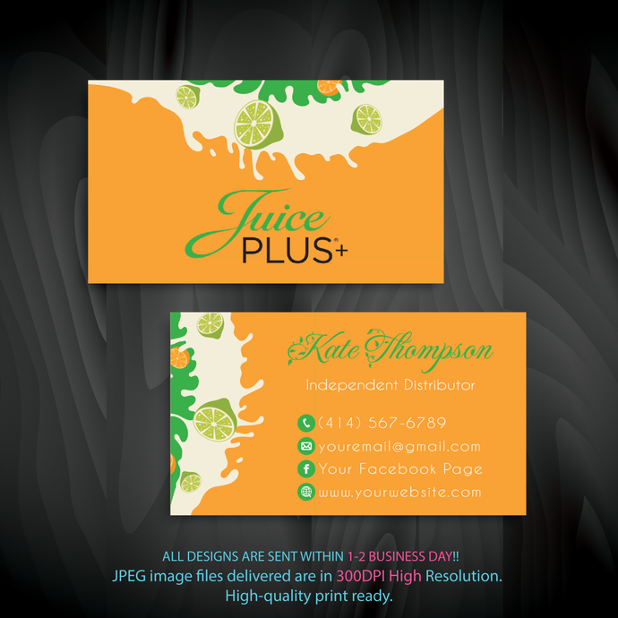 Juice Plus Business Cards, Custom Juice Plus Cards, Personalized Juice Plus
