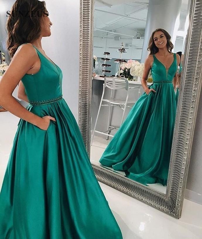 Fashionable Deep V Prom Dress,Green Prom Dresses, Prom Dress with Pockets
