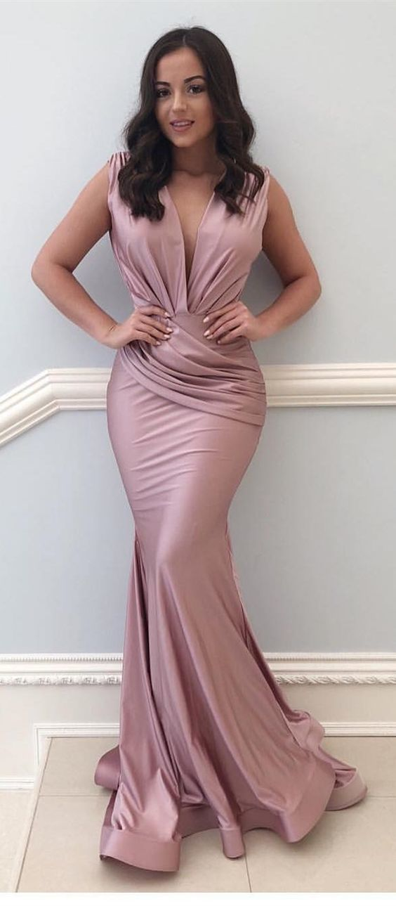 Simple Elegant Mermaid V-neck Floor-Length Prom Dress with Ruched