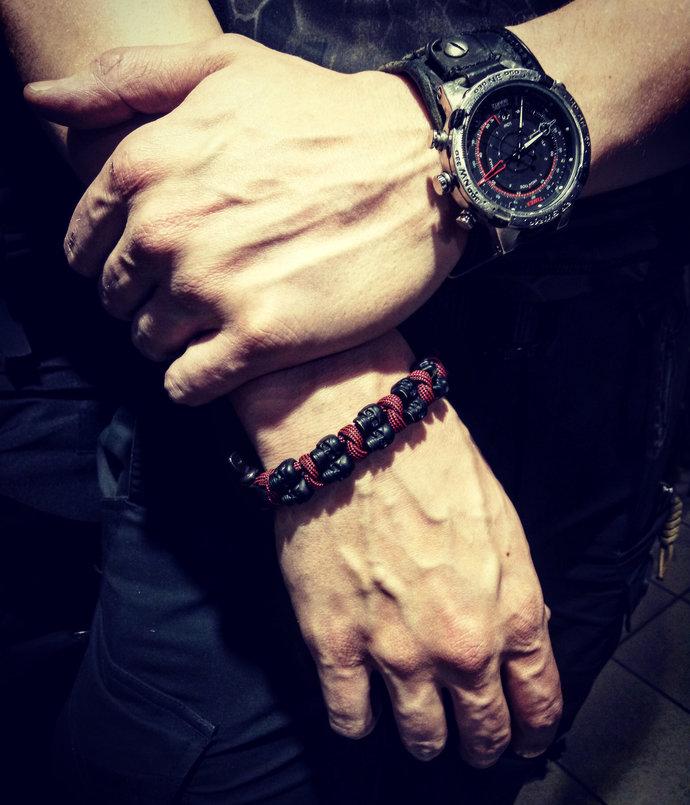 Skull bracelet Men's Bracelet Mens Christmas gift for him Set Gothic bracelet