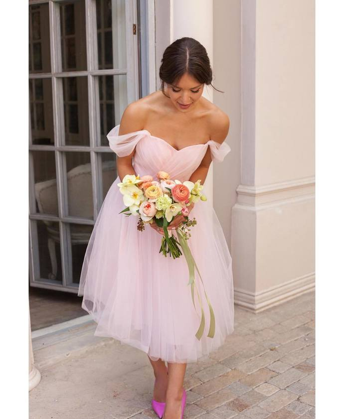 Sexy Off Shoulder Pink Tulle Party Dress, Simple Pink Bridesmaid Dress