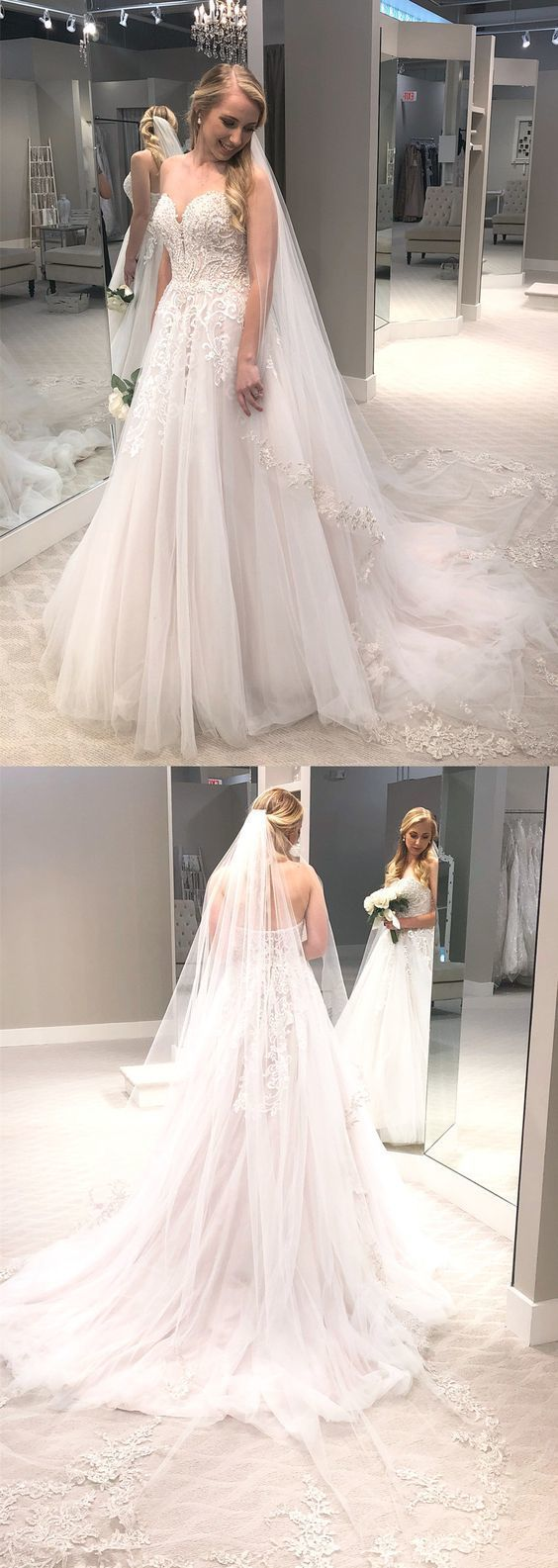 Gorgeous Tulle A Line Wedding Dresses, Sexy Appliques Beads Bridal Gowns