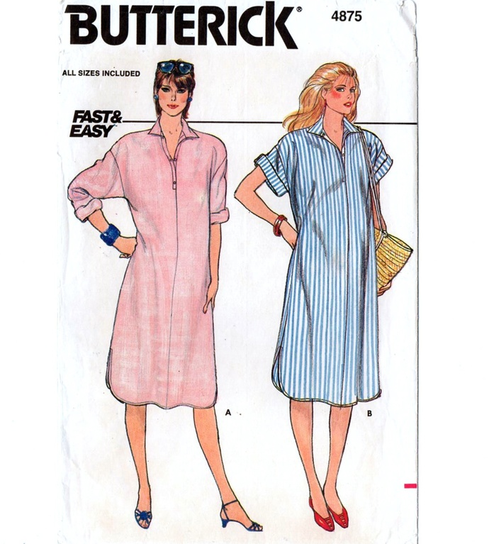 5b318ea7d9d Butterick 4875 Misses Maternity Dress 80s Vintage Sewing Pattern Size 6