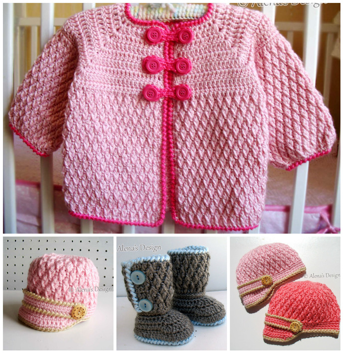 Baby Cardigan Crochet Pattern, Baby Booties Pattern, Baby Hat Pattern, Toddler