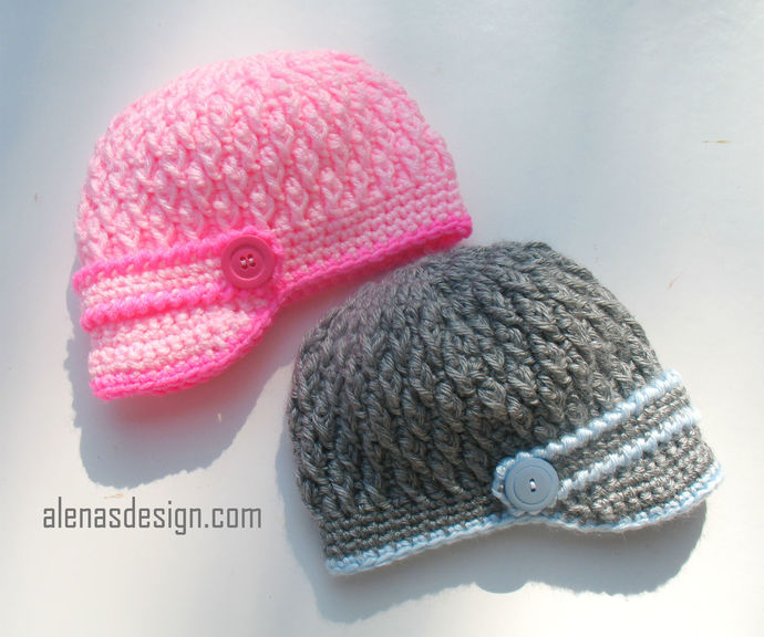 Crochet Hat Pattern Crochet Pattern 092 Two-Button Visor Hat Newborn Baby Boy