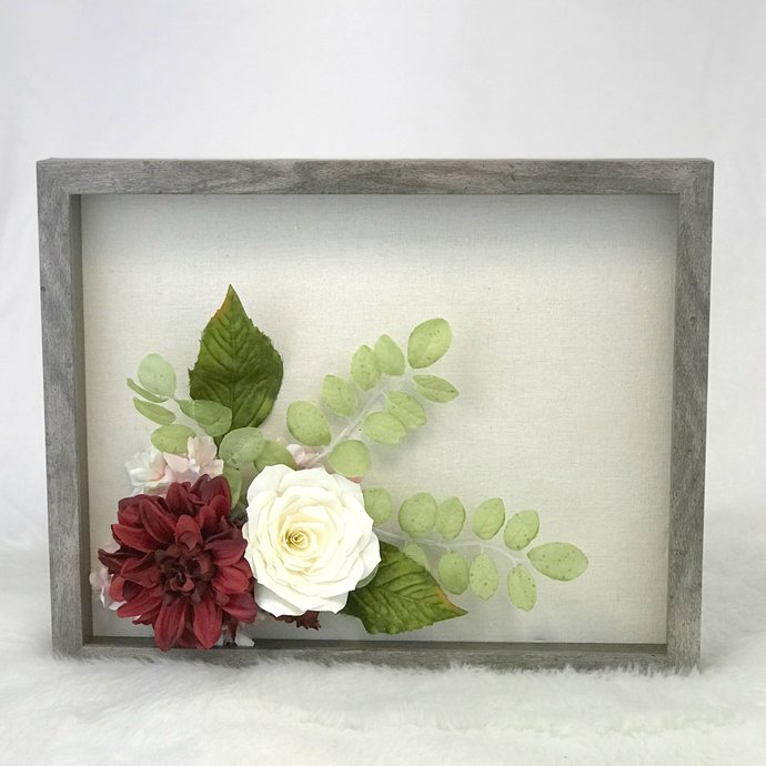3D Faux flower picture wall decor in burgundy and ivory