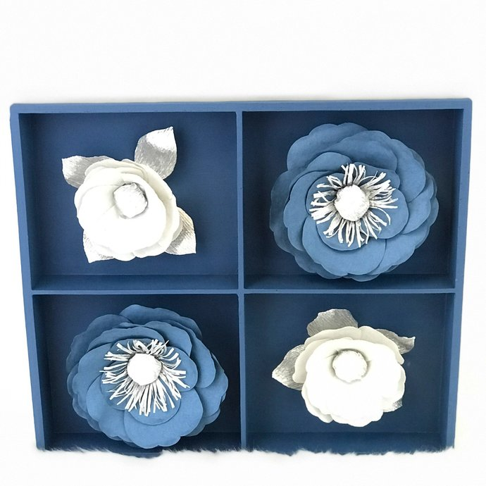 Blue And Silver 3d Paper Flower Wall Art Customizable Colors