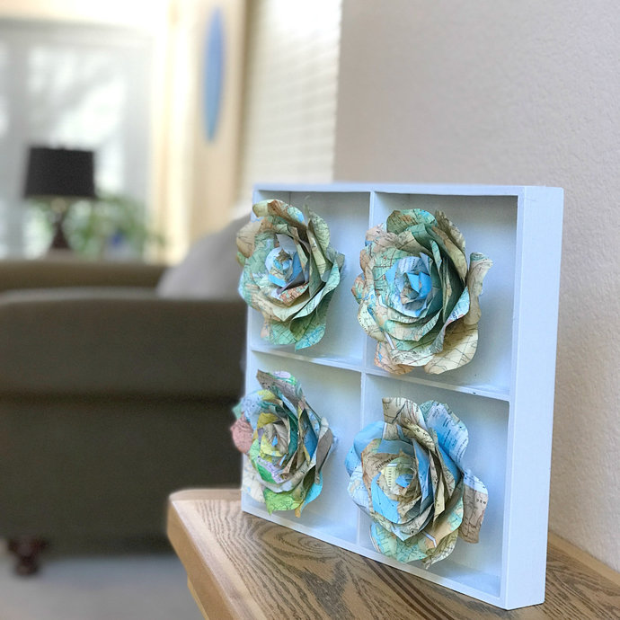 Map Flower Art - Home Decor 3D Handcrafted Paper Rose Art - Map Paper Rose Decor