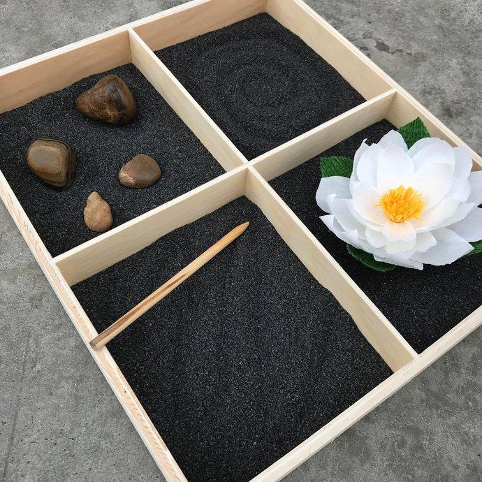 Black and brown serenity Zen tabletop garden