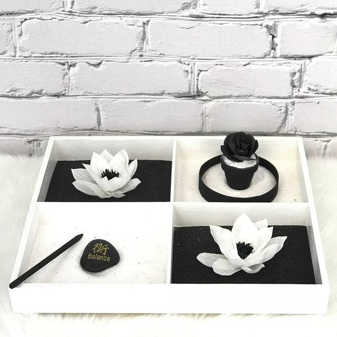 Black and white serenity Zen tabletop garden