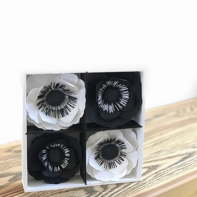 Black & White 3D Handcrafted Paper Flower Art for Wall Decor or on a Desk or
