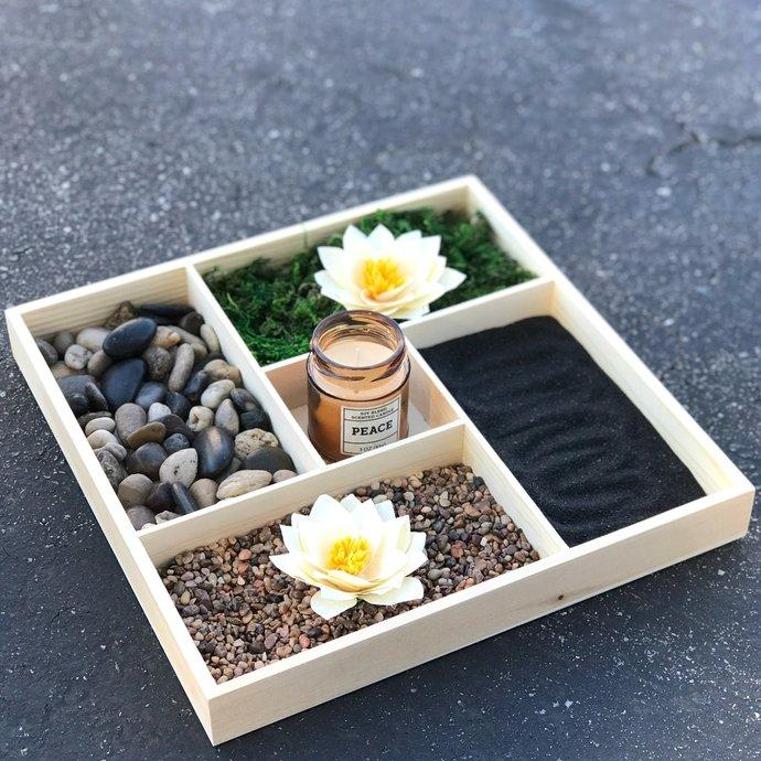 Relaxing indoor table top garden - Indoor mini lotus & rock garden - Serenity