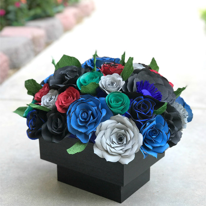 Centerpiece in Black, Blue, Red, Gray and Green Handcrafted Paper Flowers -
