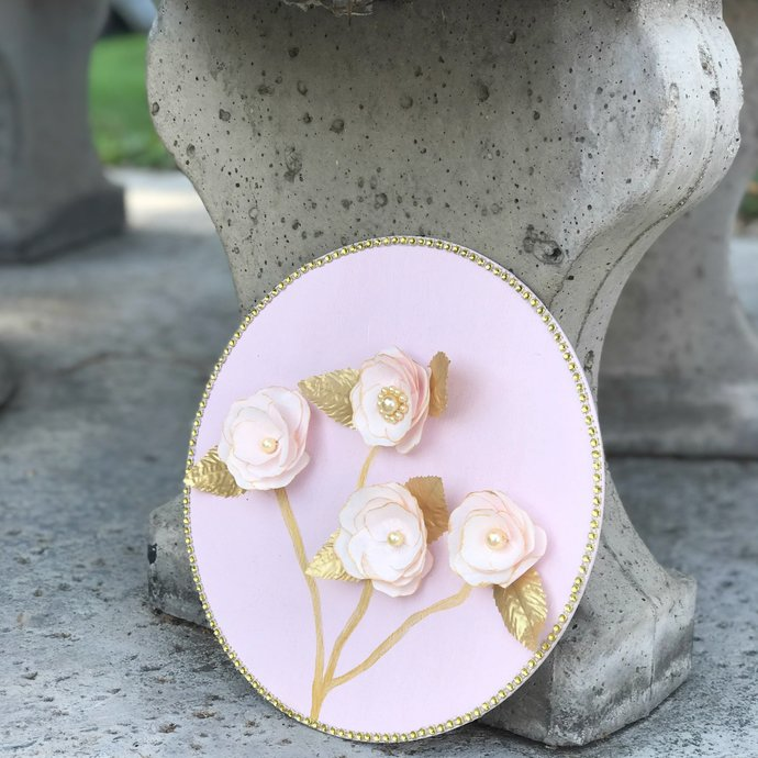 Gold and Pink 3D Flower Wall Decor - Gold Paper & Pearl Floral Wall Art
