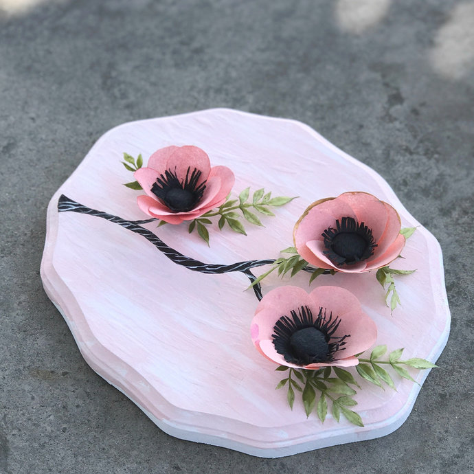 3D Paper Flower Wall Art in Peach & Pink - Customizable colors