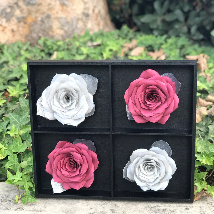 Burgundy And Silver 3D Paper Flower Wall Art - Choose from 2 sizes -
