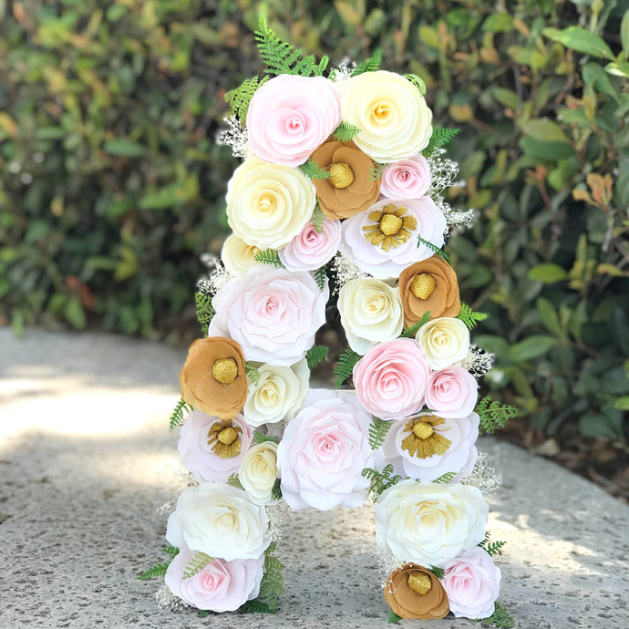 Floral Letter in Blush, Ivory and gold Paper Flowers - Flower Initial for