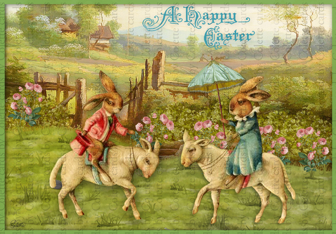 Easter Bunnies Riding Countryside Digital Collage Greeting Card21565