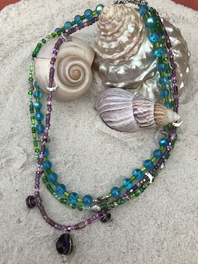 Multi-strand bright,beach necklace