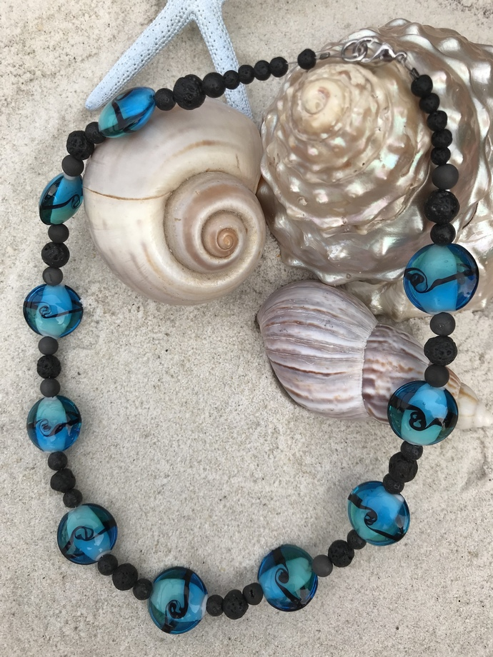 Black lava and blue glass necklace