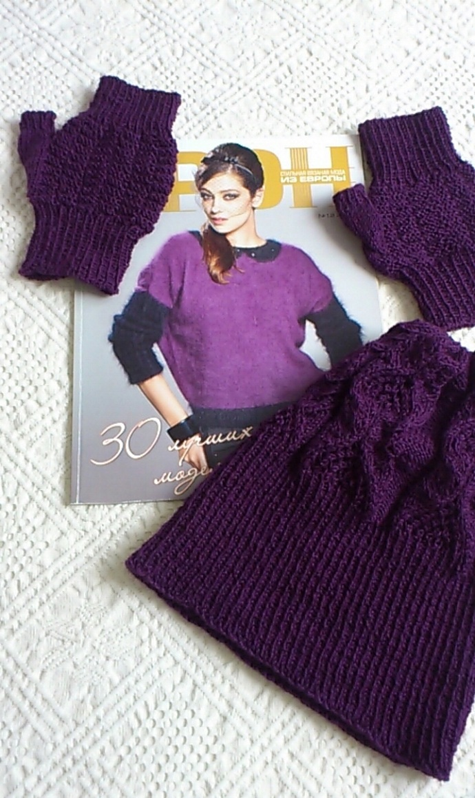 BlackBerry set women hat and mittens, women hat, women gift, for her, READY TO