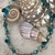 Blue and green glass and starfish necklace