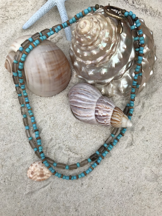 Turquoise and smoky quartz and shell necklace