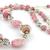 Rustic Pink Necklace & Earrings Set - rhodocrosite beige black grey gray dangle