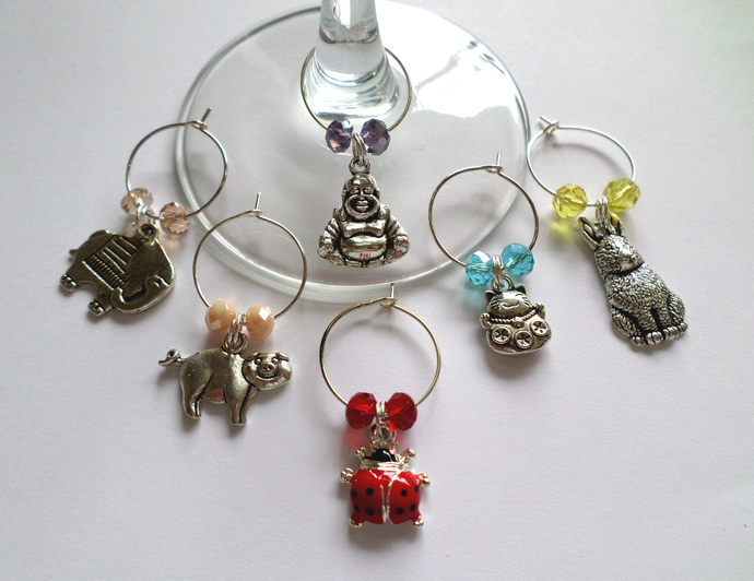 Lucky Symbols Wine & Drink Glass Charms - Set of 6