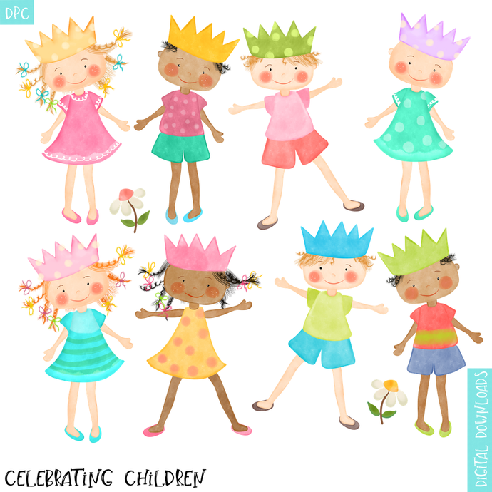 Watercolor Children Clipart with Party Hats