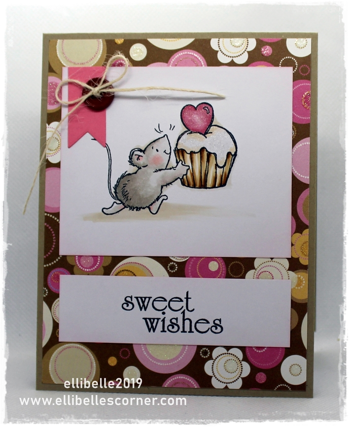 Sweet Wishes - Cute Handmade Greeting Card, Mouse with Cupcake Unique Card with
