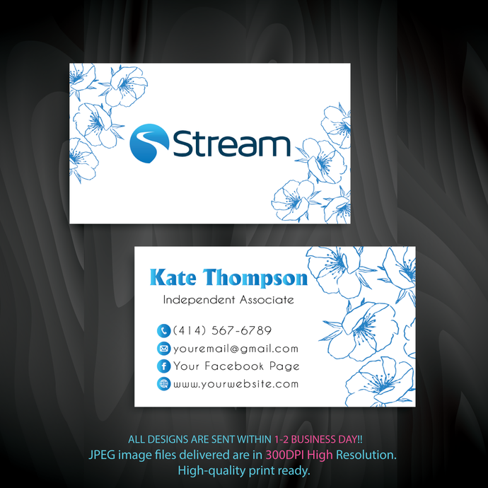 Personalized Stream Energy Business Cards, Custom Stream Energy Cards, Custom