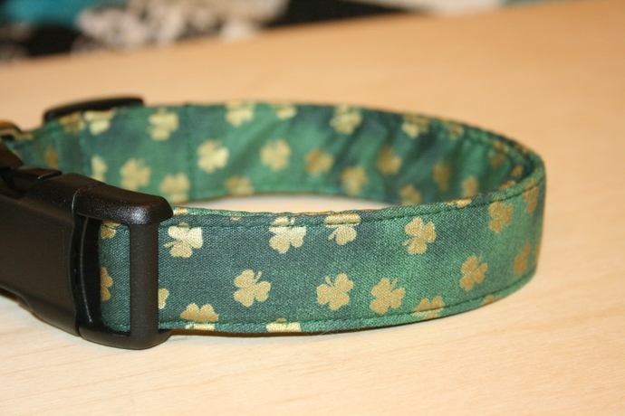 Gold Shamrocks on Dark Green Adjustable Dog & Cat Collars & Martingales &