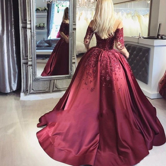 Gorgeous Lace Off the Shoulder Burgundy Ball Gown