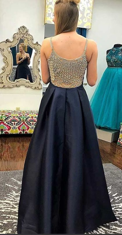 ff885d8ad80 Gorgeous Beading Back Navy Blue Long Prom by ModelDressy on Zibbet