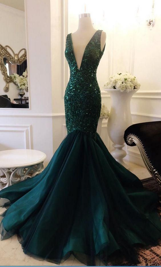 5b807a87a560 Plunging Neck Mermaid Prom Dress with Sequin Appliques Lace V Back Evening