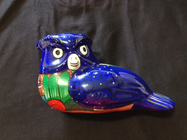 Vintage Folk Art Pottery Blue Owl/Vintage Mexican Ceramic Owl/Hand made Blue