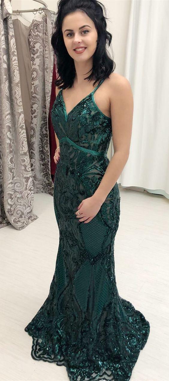 9e32b0943ef4 Luxurious Gorgeous Mermaid Dark Green Sequins Long Prom Dress, Sexy V Neck