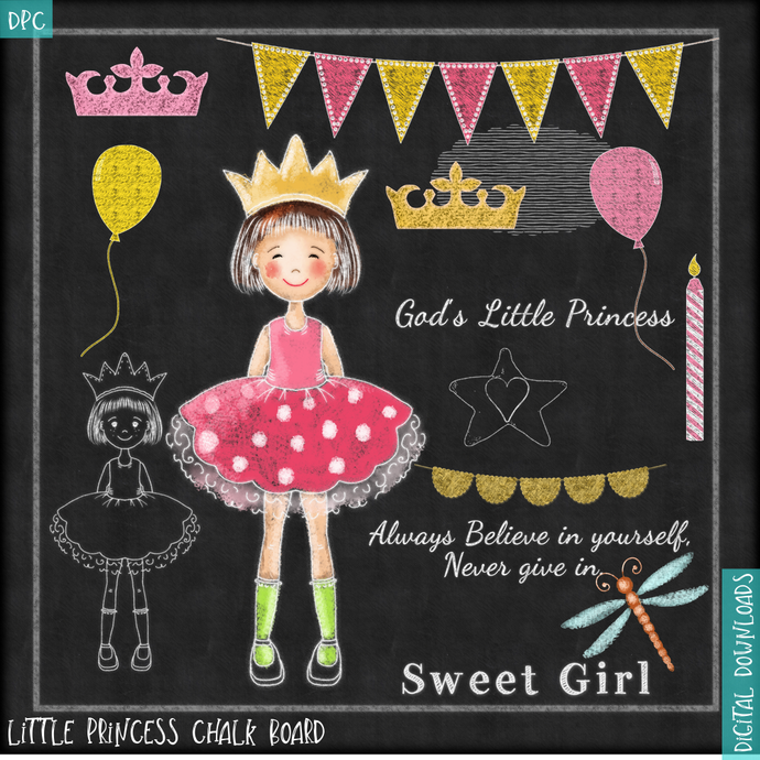 Chalkboard Clipart Princess 1, Chalk drawing, Princess Clipart, Instant