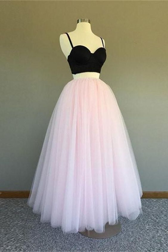 e6d29584c91b 2 Pieces Beautiful Black And Pink Long Elegant Spaghetti Straps Prom Dresses