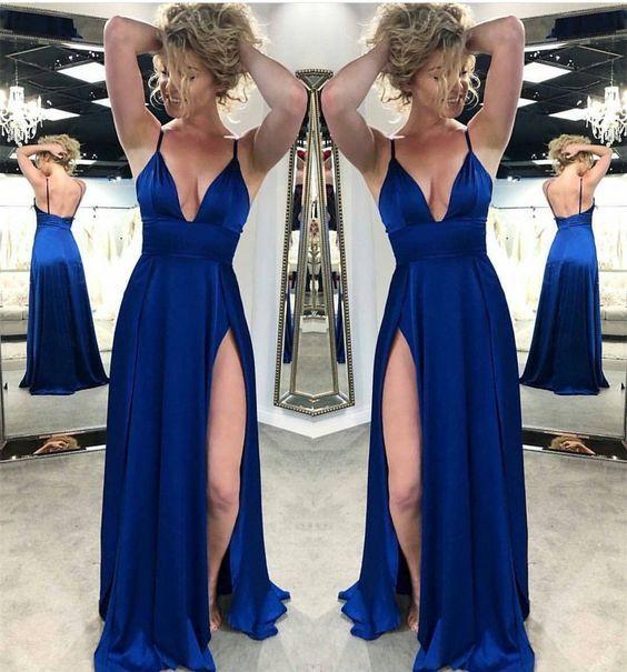 Royal Blue Satin Side Slit Long Prom Dress Spaghetti Strap V-Neck Prom  Dresses Plus Size Formal Evening Party Gowns