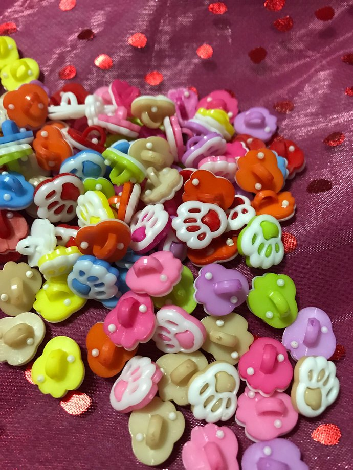 Paws Multicolor Buttons/Back Hole Buttons/ Sewing Supplies/DIY Craft supplies