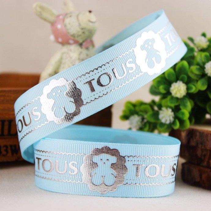"Teddy Bear Printed on Blue Grosgrain Ribbon  /1""(25 mm) width /DIY Hair Bow /"