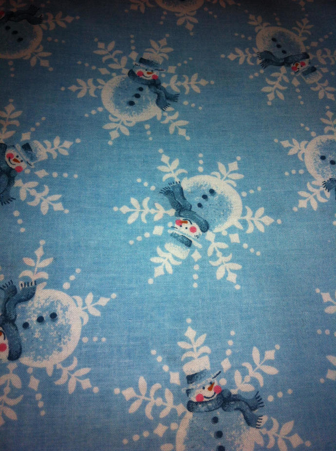 Christmas Snowmen  on Snowflakes  Cotton Fabric /Sewing Craft Supplies / Home