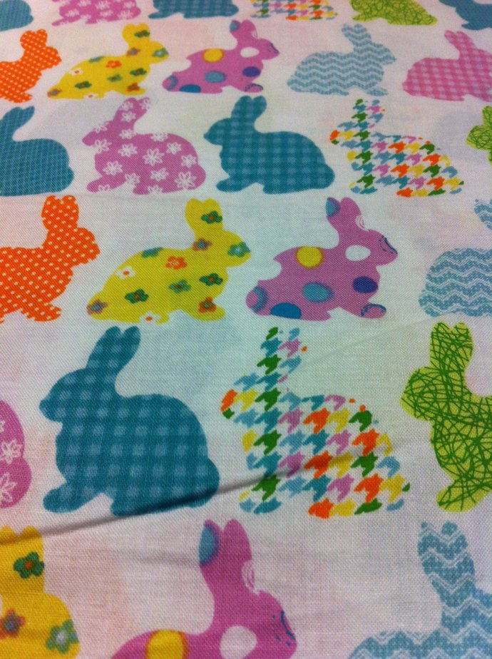 Easter Bunnies on white Cotton Fabric/Sewing craft supplies/Apparel Fabric/