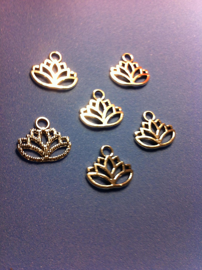 Lotus Flower Charm/Lotus Earring Drop/Silver Lotus Charms/Dangling Charm